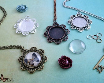 """4 Kits- 25mm Round Filigree Flower Photo Pendant Trays - 25mm Round Glass Tile Inserts - 3 Chain Choices - 24"""" or 30"""" - 4 Color Choices"""