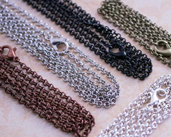 50 18 inch necklace chains in bulk rolo loop style for Lilly d s craft supplies