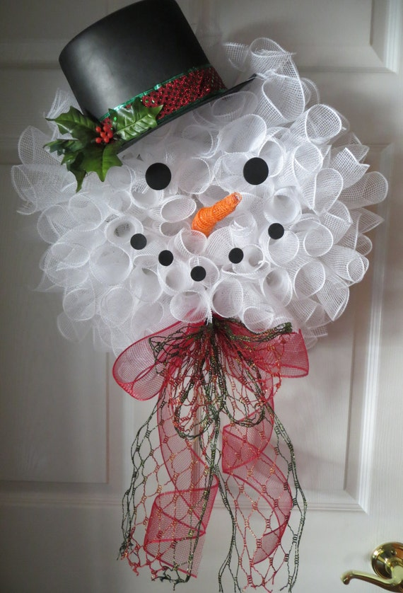 Frosty The Snowman Deco Mesh Wreath