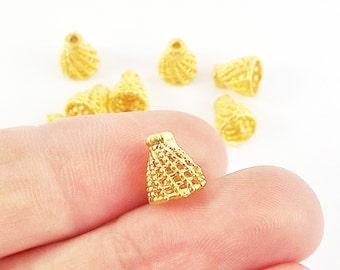 8 Mini Filigree Cone Round Bead caps - 22k Matte Gold Plated