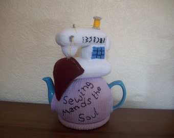 Knitted Tea Cosy  Cosie Cozy  Sewing Machine Shabby Chic