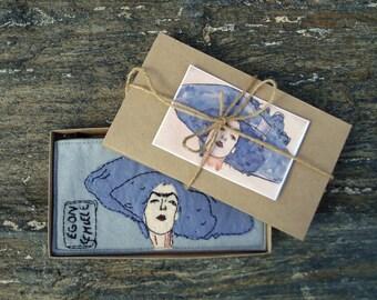 Vegan Women's Wallet, Egon Schiele women clutch wallet, zipper wallet, hand embroidered purse