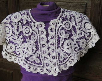 Fabulous Antique French White Collar- -Brugges Embroideries-Very large Vintage Fine Handmade from France- Marvellous for a Wedding Dress.