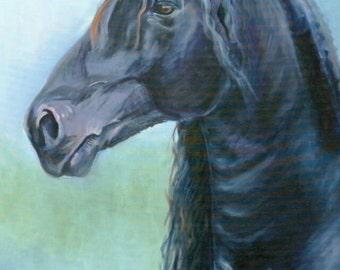 Friesian Horse Giclee Art Print on Somerset velvet paper