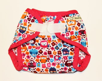 Cloth Diaper Cover - Owl Garden PUL - Size Small