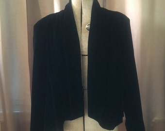 Vintage 1980s Black Velvet Draped Swing Short Cropped Batwing Cape Dress Jacket Coat S M