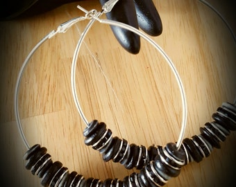 Black/Grey/Crystal Poparazzi Style Beaded Hoop Earrings-80mm  (3.15 inches)