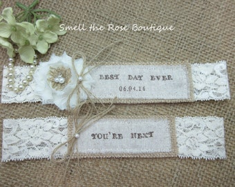 Personalized Garter Set ,Pick Your Saying ,Country Chic Rustic Wedding Garter Set,Wedding Garters