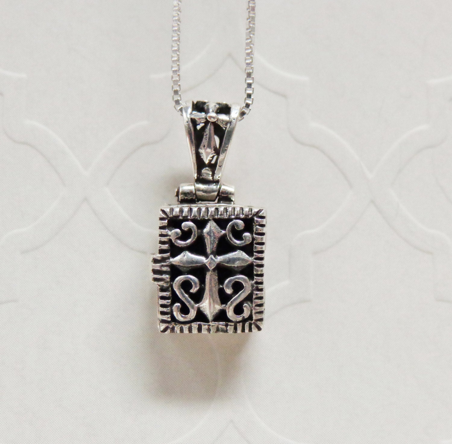 sterling silver cross prayer box necklace
