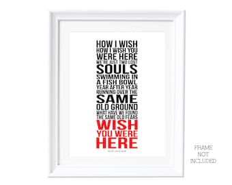 Song Lyrics Pink Floyd Wish You Were Here Print A3 ( Print Only ) Typography Song Music Lyrics For Framing