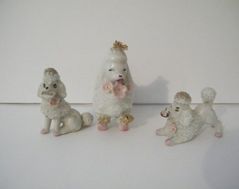 Ceramic Poodles, vintage Set of Mother poodle dog and pups, made in Japan 1950s, mid century figurines, canine collectibles