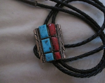 BOLO Old Sterling Turquoise Red Coral Navajo made by Alex Peshlakai