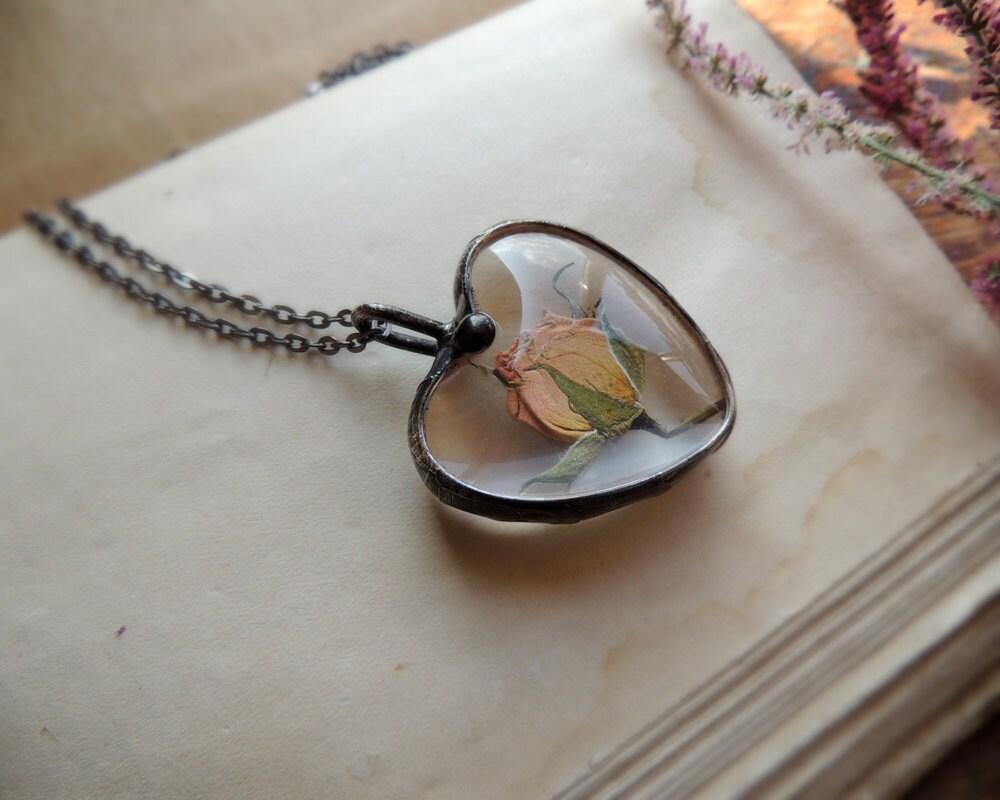 Romantic Jewelry Dried Rose Terrarium Necklace Bridesmaids