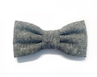 grey chambray bow tie - grey chambray bow - baby child adult pre tie adjustable wedding gift for him