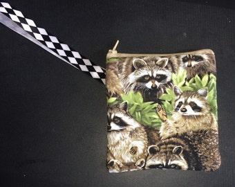 Raccoon Wristlet bag zipper coin purse raccoons cute