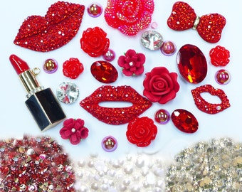 New -- DIY 3D Red Lips Alloy Bling Bling Glass Gems Flatback Decoden Cabochons Cell Phone Case Deco Kit