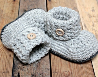 Pearl grey baby booties, shoes crochet
