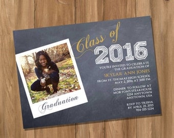 Graduation Invitation / Announcement with Photo - (Digital - DIY)