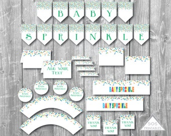 Baby Sprinkle Party Printables, Boy Baby Sprinkle Shower, Baby Shower Printables, Baby Shower Decorations, Sprinkle Shower, Instant Download