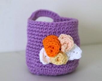 Crochet Lavender Basket with Makeup Remover Pads Lavender Wash Cloths