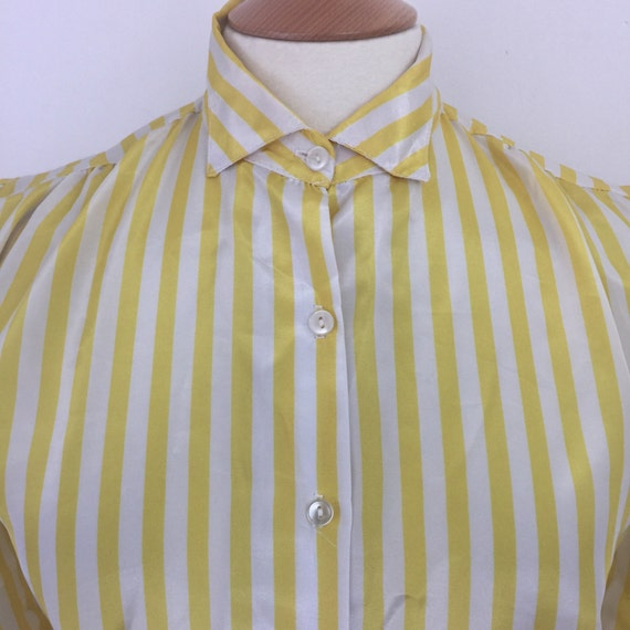 Sunshine yellow stripes blouse silky satin short collar Mad Men secretary style UK 12 puffed sleeve steampunk Mod Cosplay larp