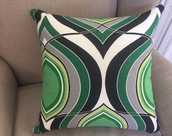 Large Cushion Cover/Pillow in HGTV Groove Move Malachite Fabric with an EST Linen Backing.