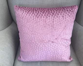 Lush Pink Velvet Cushion Cover with embossed dots.