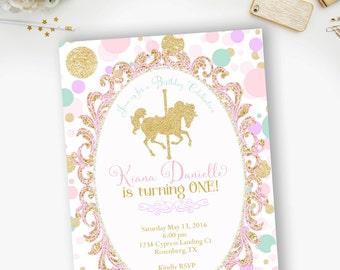 Carousel Mint Gold Lavender Pink Birthday Invitation, Carousel Birthday Party, Gold Carousel Invite- YOU PRINT