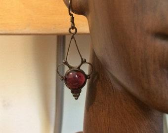Vintage Delicate Red Stone Earrings