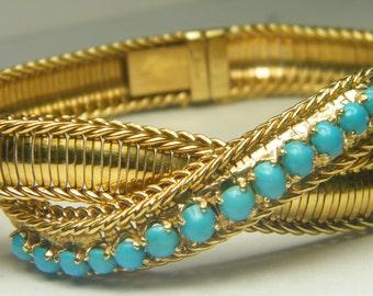 18kt yellow gold vintage Turquoise ladies bracelet ladies bracelet