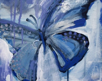 abstract butterfly painting - digital download art - periwinkle blue