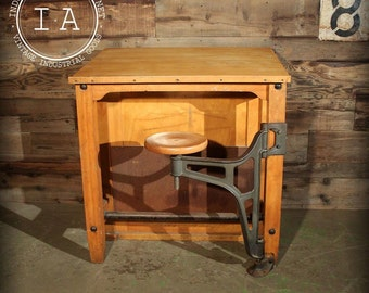 Vintage Boys Tech Maple Swing Arm Stool Drafting Desk Table