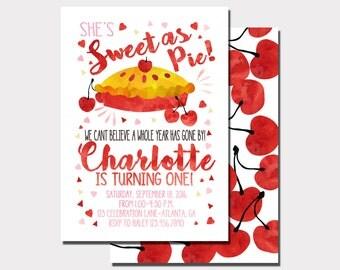 Sweet As Pie Invitation   Cherry Pie Birthday Invitation   Farmers Market Invitation   Fruit Invitation   Cutie Pie Invitation