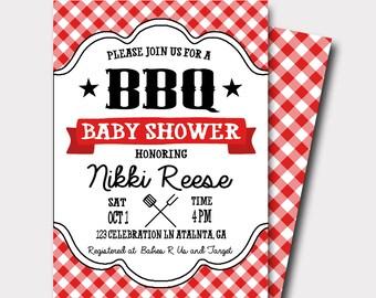Baby Shower BBQ Invitation, Baby Q Invitation, BBQ Invitation, Cook Out Invitation, Gender Neutral Baby Shower