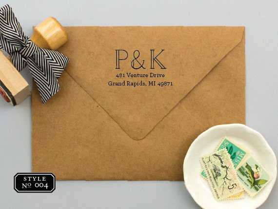 Personalized Stamps For Wedding Invitations: Monogram Address Stamp For Wedding Invitations Personalized