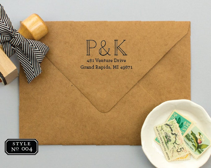 Monogram Address Stamp for Wedding Invitations, Personalized Return Address Stamp, Wedding Present, Custom Return Address Stamps