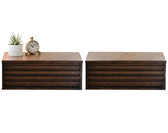 Two Modern Hanging Floating Wall Mount Nightstand Drawers - Lotus Nightstand - Russet Brown
