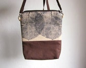 Crossbody small bag, Clutch Purse, Hand printed fabric, leaves stamp, Small size handbag, brown bag