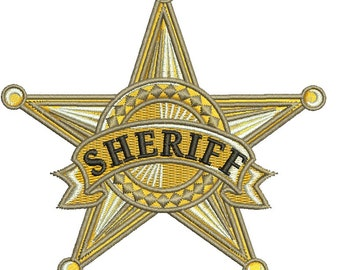 sheriff star  Machine Embroidery Design -  Instant Download 4 x 4