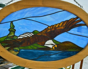 SALE!  Stained glass Eagle window - Gifts for Him.