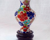 Vintage Miniature Cloisonné Vase With Carved Stand