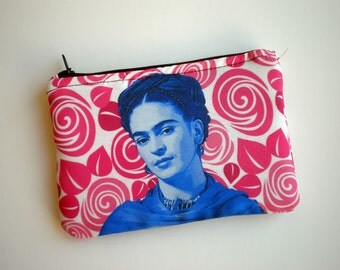 Coin purse, Frida Kahlo, Small zipper pouch, Card wallet, Padded, Gift for her, Pouch