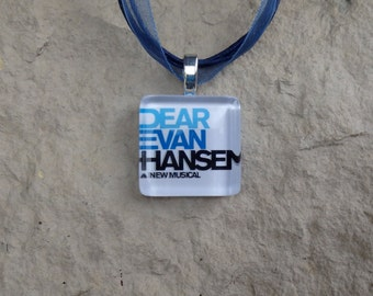 Broadway Musical Dear Evan Hansen Glass Pendant and Ribbon Necklace
