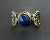 Lapis Lazuli Stone bronze or Sterling Silver Engraved retro style Ring - made to order