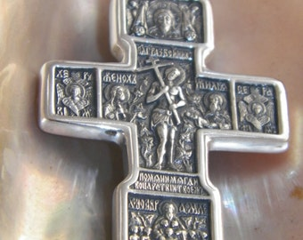 Two-Faces Oxidized OrthodoxSolid .925 Sterling Silver Cross with Crusifix