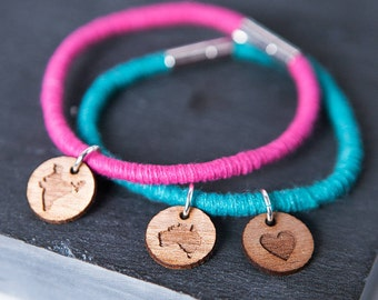Personalised Map Charm Bracelet - Custom Map Jewellery - Wanderlust Bracelet - Travel Gift - Long Distance Love - Every Day Jewellery