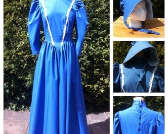 Sale Last One Victorian Styled Dress and Bonnet ideal for Stage and Victorian Markets Size 12