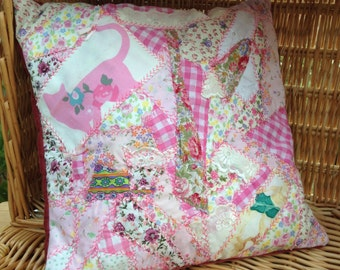 Gorgeous Catnip Cat Pillow Pink Patchwork Cushion