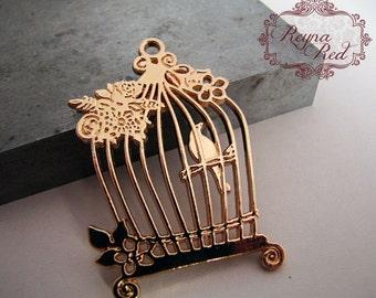 Caged Bird Sings Bright Goldtone Pendant, bird pendant, bird focal, canary pendant, bird cage pendant, gold canary - reynaredsupplies