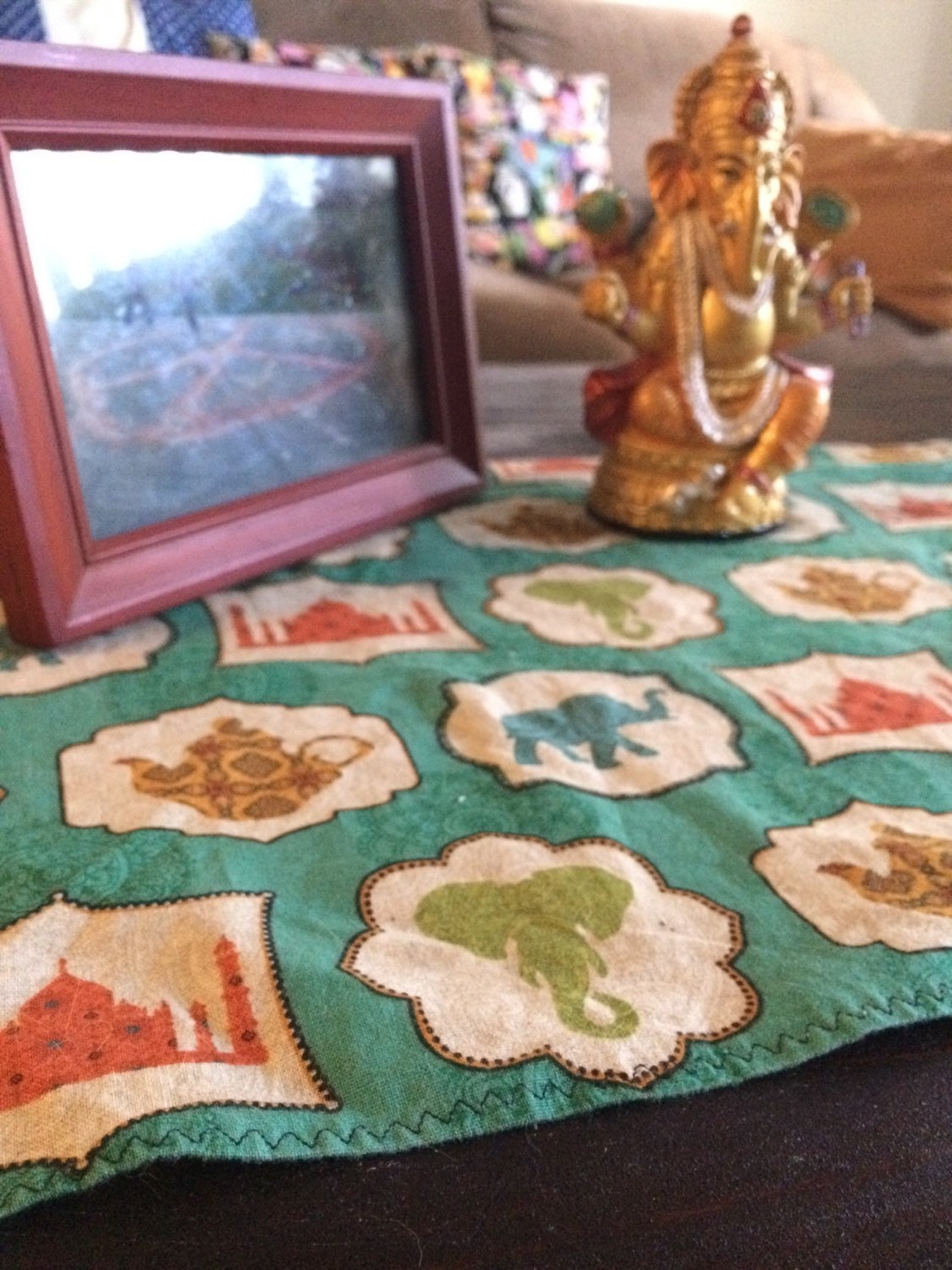 Indian Tea Table Runner Turquoise Coffee Table Table Cloth
